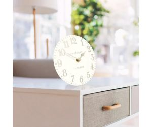 Arabic White Linen Mantel Clock